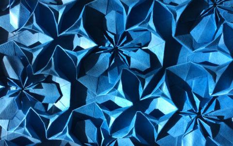 paper artwork blue flower